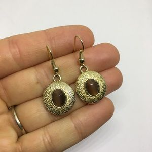 Gold and brown stone dangle drop earrings
